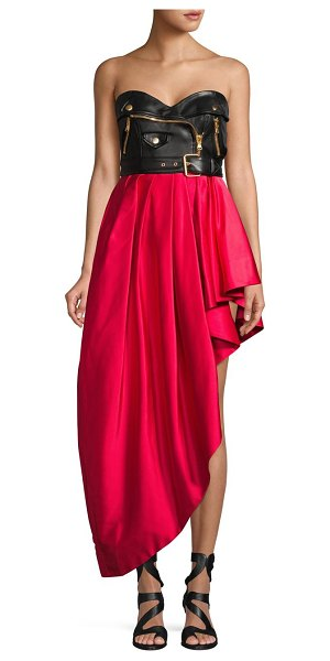 Moschino Colorblock Asymmetrical Dress in red