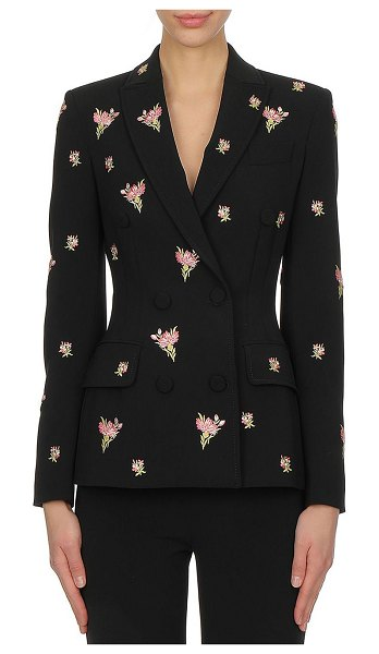 Moschino double breasted floral embroidered crepe jacket in black