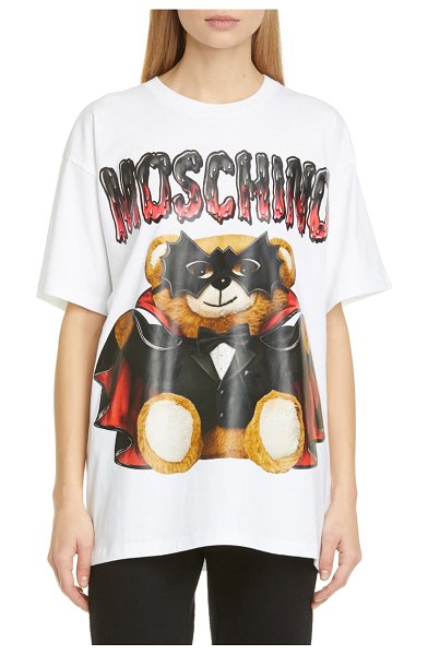 Moschino dracula teddy bear graphic tee in 1001 white