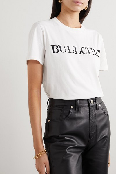 Moschino embroidered cotton-jersey t-shirt in white