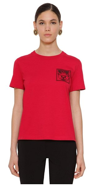 Moschino Fitted cotton jersey t-shirt in red
