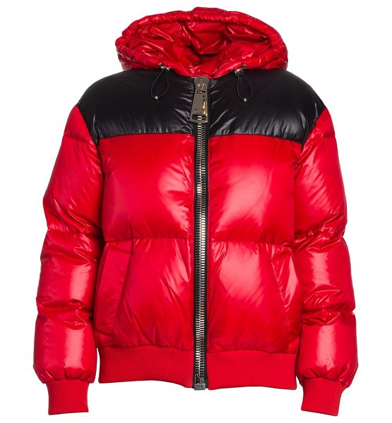 Moschino hooded patent puffer jacket in fantasy print