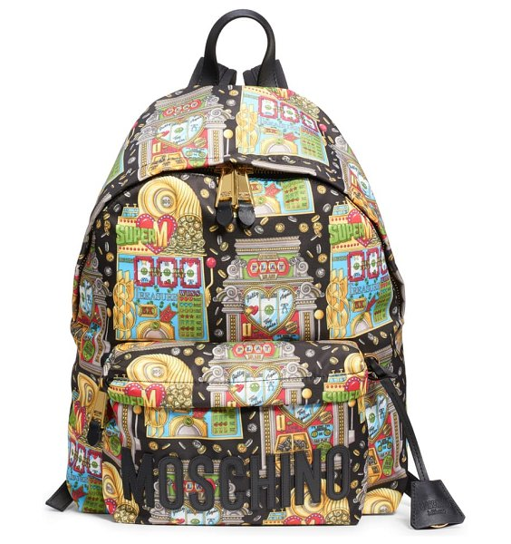 Moschino jackpot logo backpack in black multi