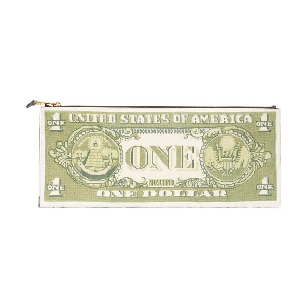 Moschino large one dollar bill zip clutch in green multi