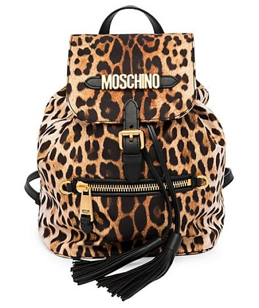 Moschino leopard print logo backpack in black multi - Eye-catching fringe and goldtone accents adorn allover...