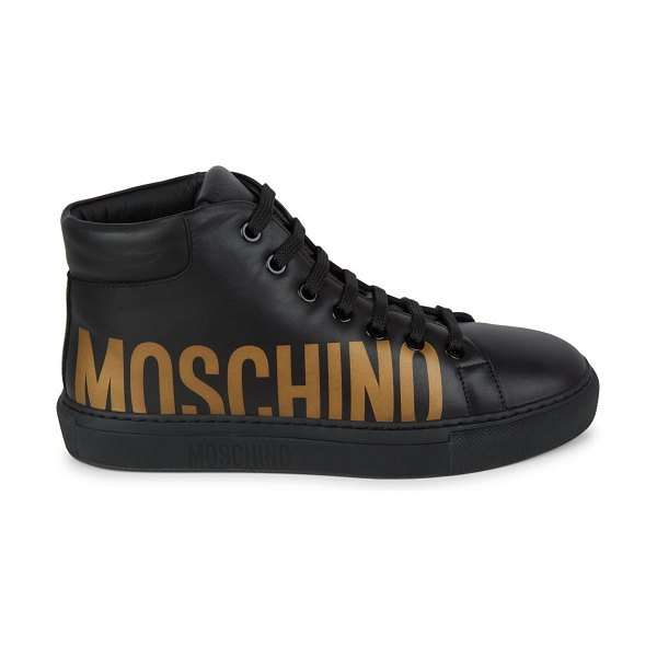 Moschino Logo High-Top Leather Sneakers in black