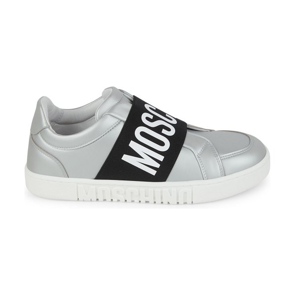 Moschino Matte Metallic Logo Strap Sneakers in silver