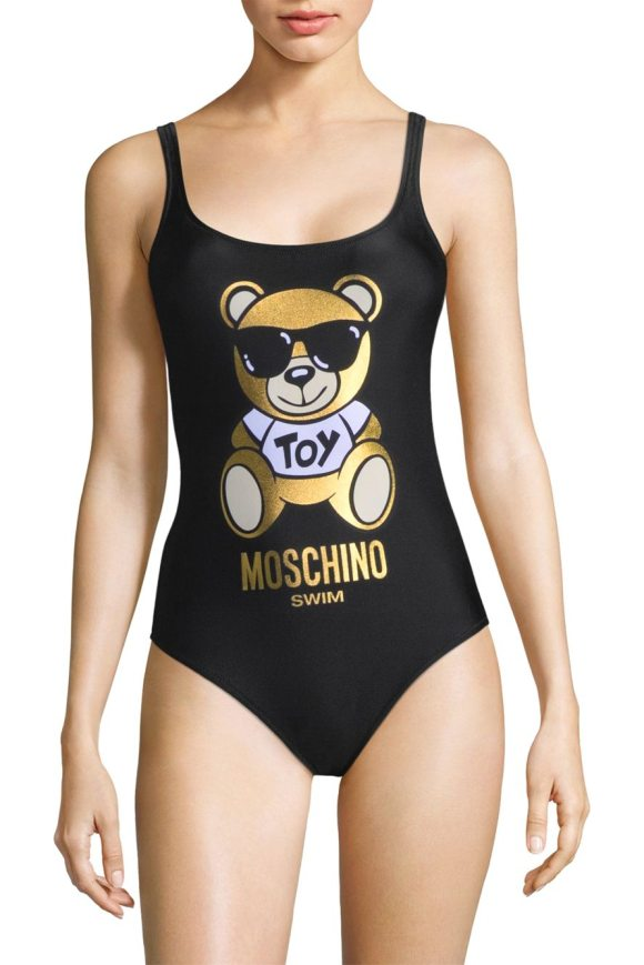 54c10f3e03 Moschino one-piece teddy bear logo swimsuit in black - Teddy bear adorns  one-