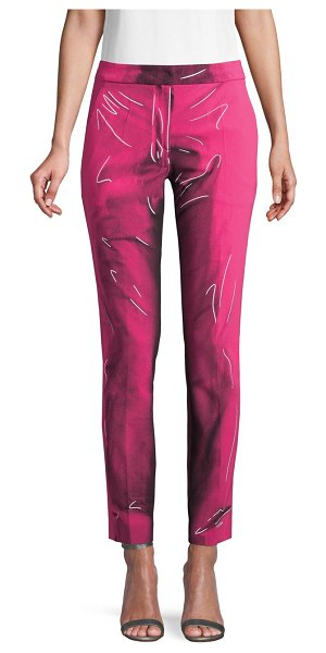 Moschino Printed Ankle Pants in fucshia