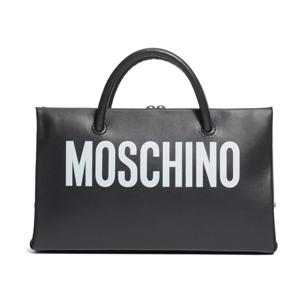 Moschino small calfskin leather shopper clutch in fantasy print black