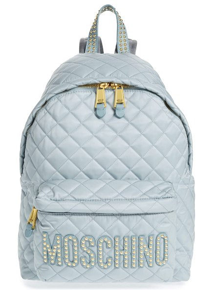 Moschino studded logo quilted nylon backpack in women~~bags~~backpack - Logo letters are lit up with gleaming studs on...