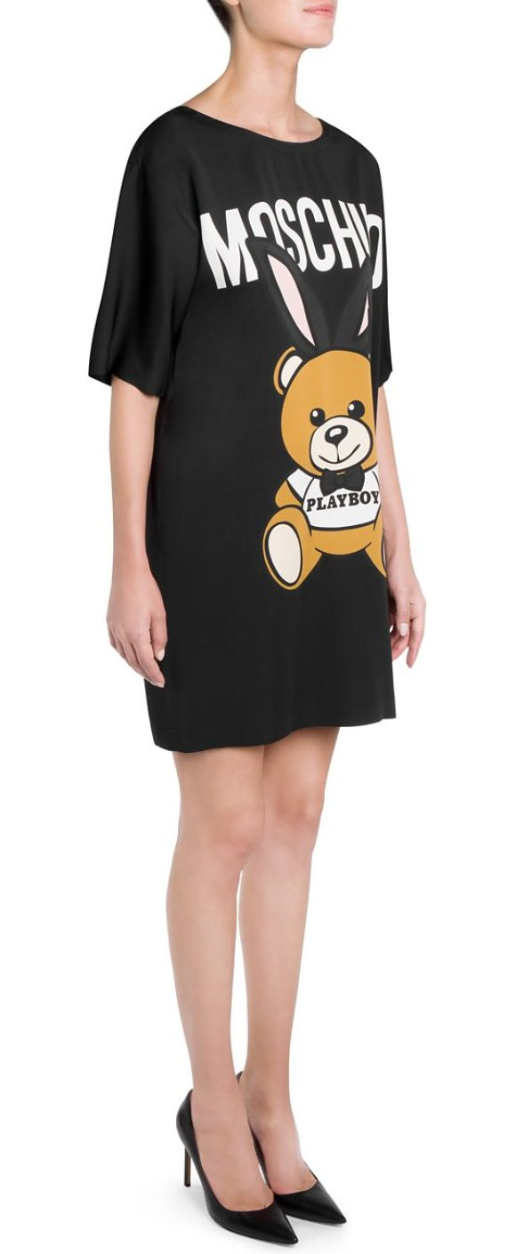 Moschino Teddy Bear Dress In Black Short Sleeve With Logo Graphic