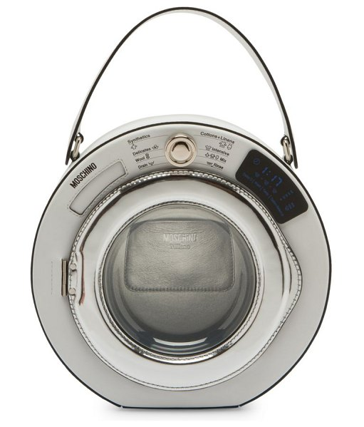 Moschino washing machine top handle bag in white multi