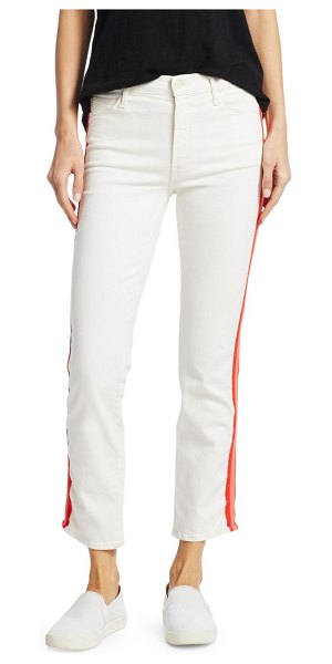 MOTHER Dazzler Crop Racing Stripe Jeans in whipping the cream