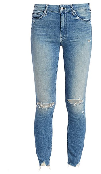 MOTHER high-rise looker ankle fray skinny distressed jeans in learning to hula
