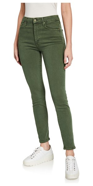 MOTHER High-Waist Looker Ankle Skinny Jeans in dark olive