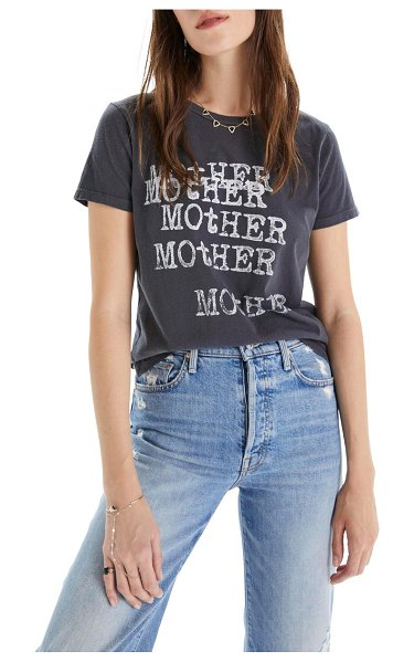MOTHER itty bitty goodie goodie destroyed cotton tee in typewriter faded black