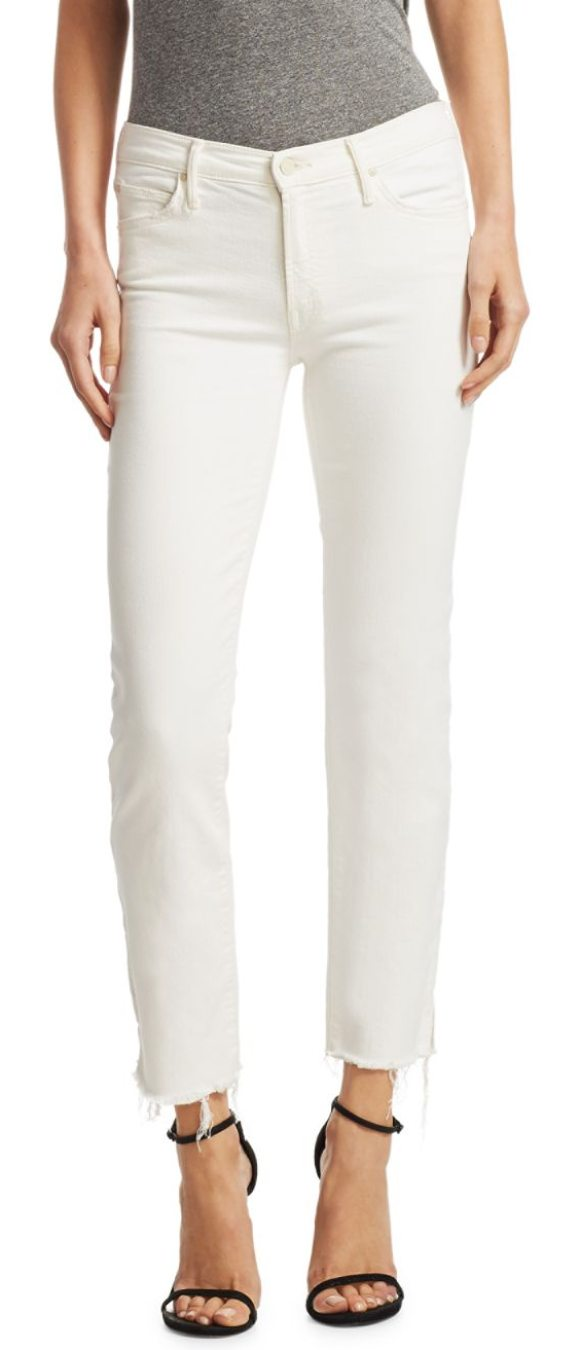 MOTHER rascal raw hem cigarette jeans in whipping the cream - Cigarette skinny jeans finished with raw hems. Belt...
