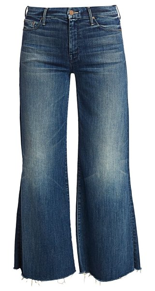 MOTHER the roller mid-rise ankle flare fray hem jeans in double shot espresso