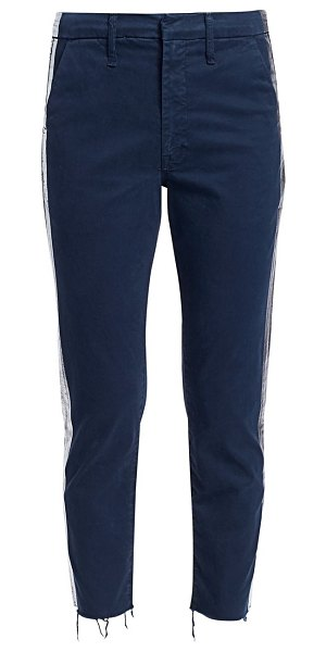 MOTHER shaker prep fray racing stripe pants in navy silver