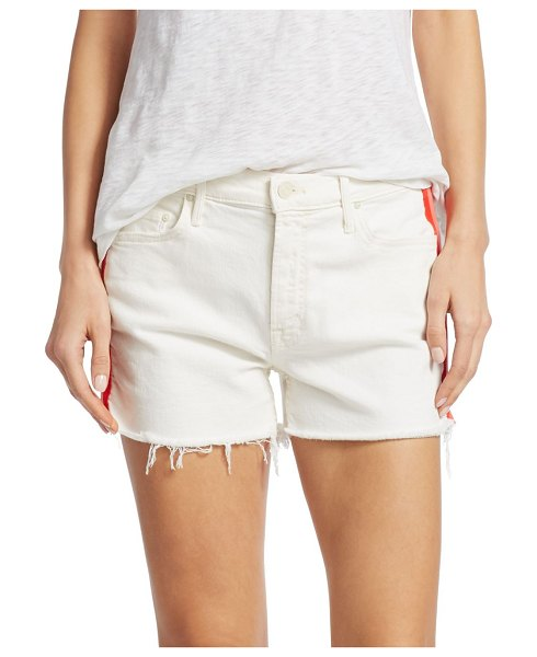 MOTHER Sinner Fray Hem Denim Shorts in whipping the cream