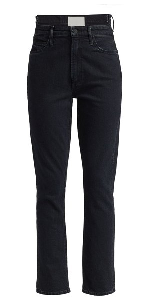 MOTHER the dazzler uneven waist mid-rise crop straight-leg jeans in whos sorry now