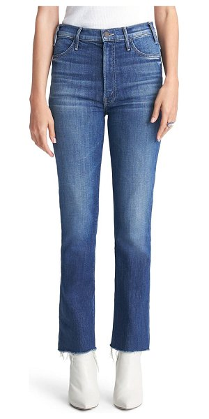 MOTHER the hustler high waist fray hem ankle bootcut jeans in right of passage