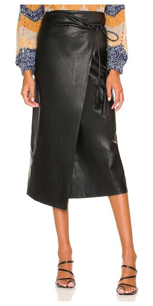 MOTHER the it's-a-wrap faux leather skirt in wax on  wax off