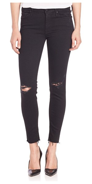 MOTHER the looker mid-rise ankle skinny fray hem distressed jeans in guilty as sin