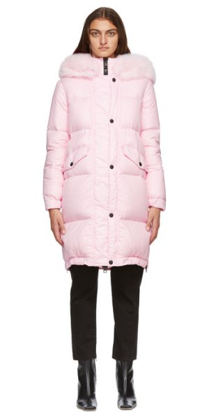 Mr and Mrs Italy pink down parka in peony