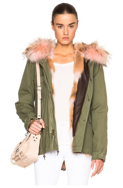 Mr & Mrs Italy Mini Army Parka Jacket With Coyote & Raccoon Fur in green - Self: 100% cotton - Contrast Fabric: 65% poly 20%...