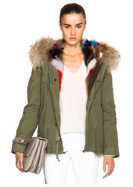 Mr & Mrs Italy Mini Fox Army Parka With Fox & Raccoon Fur in green - Self: 100% cotton - Contrast Fabric: 100% lambskin...