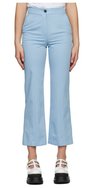 MSGM blue straight leg trousers in light blue