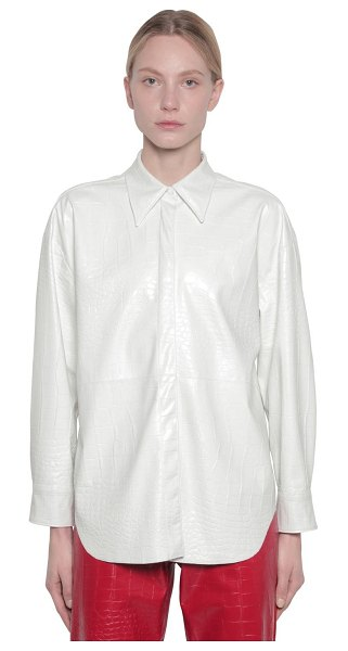 MSGM Croc embossed faux leather shirt in white