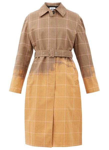 MSGM faded checked single-breasted cotton trench coat in beige multi