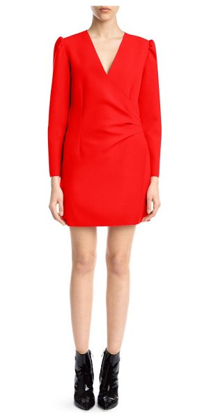 MSGM Long-Sleeve Side-Ruched Crepe Mini Dress in red