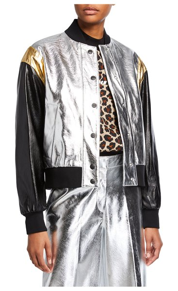 MSGM Metallic Bomber Jacket in silver