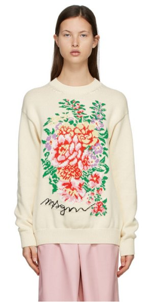 MSGM off-white knit floral sweater in cream