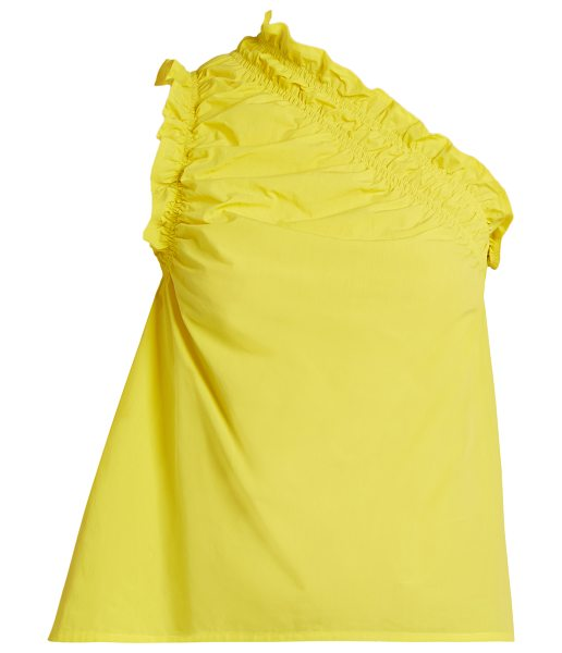 MSGM One-shoulder cotton top in yellow - You can always count on MSGM for pieces that will infuse...