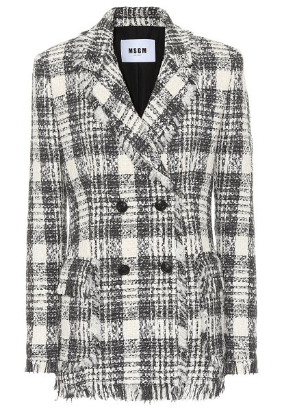 MSGM Plaid cotton-blend tweed blazer in black - MSGM takes a break from its usual street-wear...