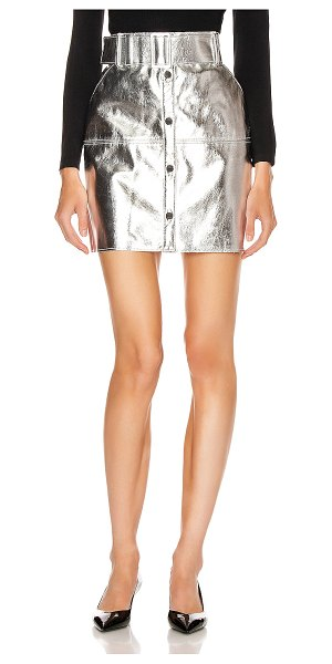 MSGM short metallic skirt in silver