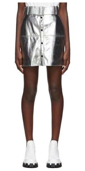 MSGM silver eco leather miniskirt in 90 silver