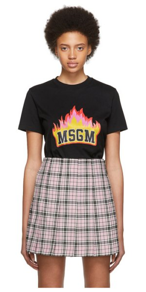 MSGM ssense exclusive black flame logo t-shirt in 99 blck,red