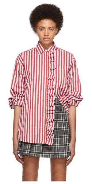 MSGM ssense exclusive red and white stripe shirt dress in 18 red,wh