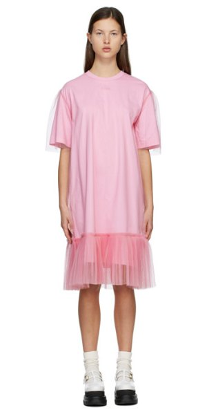 MSGM tulle overlay dress in pink