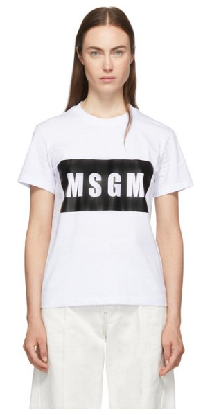 MSGM white box logo t-shirt in 01 white