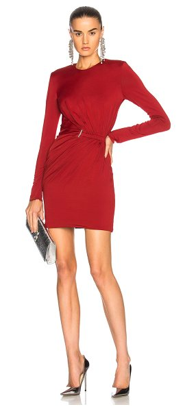 Mugler Fluid Jersey Long Sleeve Mini Dress in red - Self: 96% viscose 4% elastan - Lining: 85% viscose 9%...