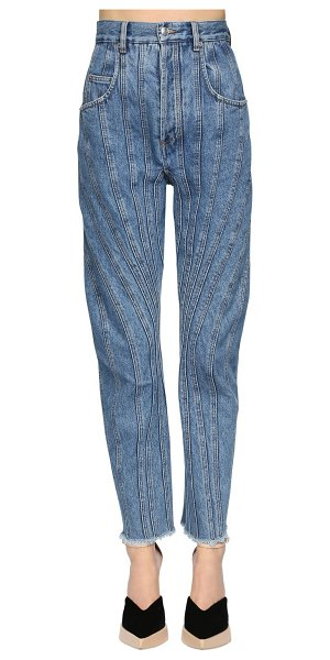 Mugler Patchwork high waist cotton demin jeans in denim
