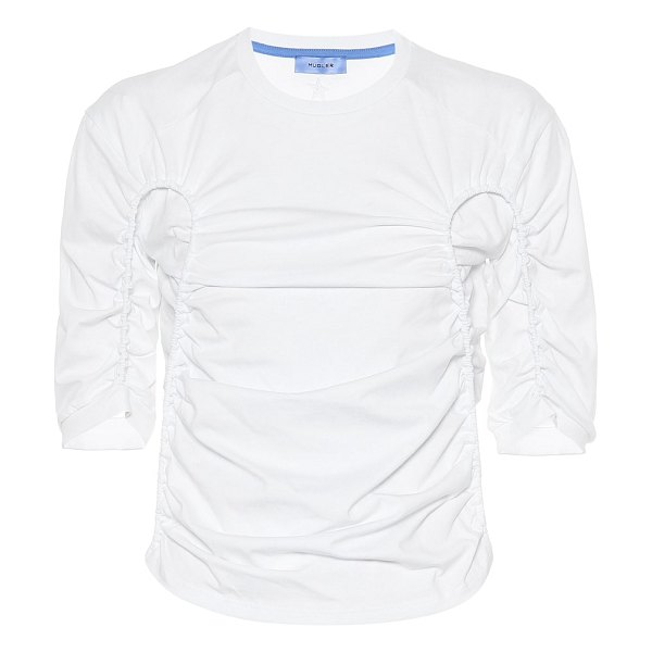 Mugler ruched cotton top in white