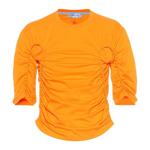 Mugler ruched cotton top in orange